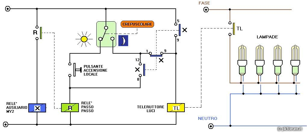 Schema Elettrico Per Xing : Schema elettrico per crepuscolare rilevatore di movimento