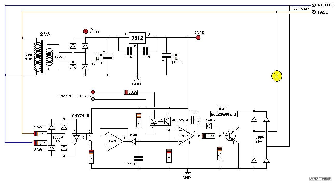 Schema Elettrico Dimmer Per Led 220v : Dimmer luce con segnale v per effetti