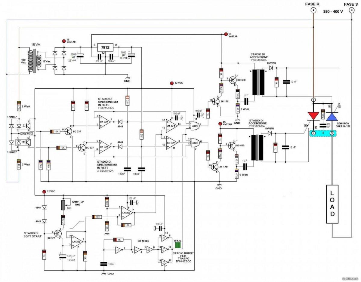Schema Elettrico Trifase : Soft start monofase come costruirlo? elettronica fai da te plc