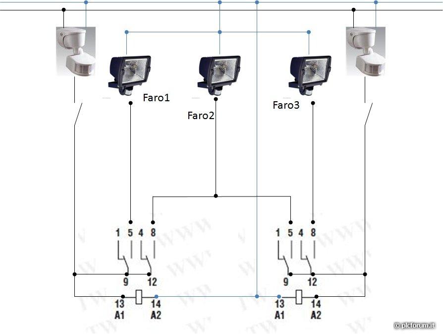 Schema Elettrico Sensore Di Movimento : Accensione tre fari con due sensori come fare